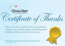 Circus certificate